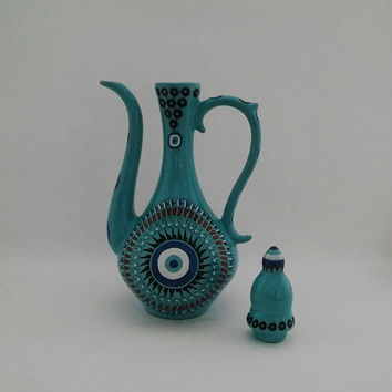 "Turquoise Evil Eye Wine Pitcher , 11.4"" - 5"" (Height - Width ) , Fast Free Shipping , Mothers Day Gift , Evil Eye Collection"