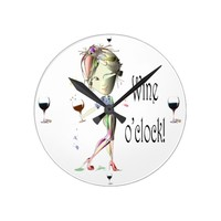 Wine o'clock humorous Wine art Gifts Round Clock