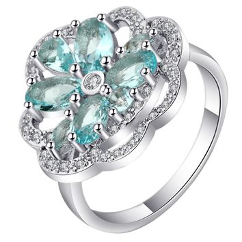 Elegant Sky Blue Zircon Stone Flower Rings Women Silver Gold Filled Beautiful Round Plant Wedding Rings For Bridal Unique Ringen