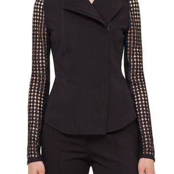 Akris punto Lace Sleeve Jersey Jacket | Nordstrom