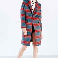 Glamorous Plaid Overcoat- Blue Multi