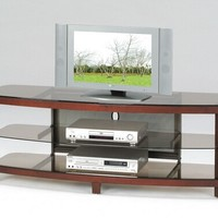 A.M.B. Furniture & Design :: Living room furniture :: TV Stands :: Zephyr collection cherry finish wood and glass TV stand entertainment center unit with storage shelves