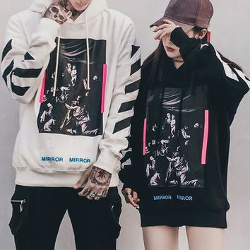 """OFF-WHITE"" Unisex Casual Fashion Stripe Religion Pattern Long Sleeve Hooded Sweater Couple Tops"
