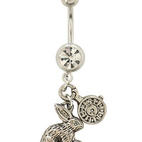 "14G 7/16"" Steel Rabbit And Clock Navel Barbell"