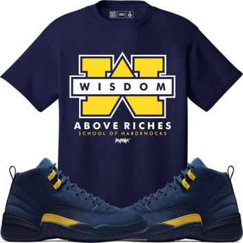 Jordan Retro 12 Michigan Sneaker Tees Shirt - SCHOOL OF HARDKNOCKS