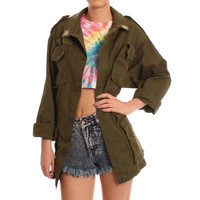 Vintage Army Green Military Jacket