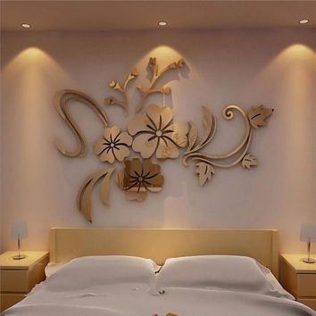 3D Mirror Floral Art Removable Wall Sticker Acrylic Mural Decal Home