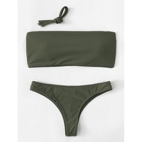 Women's Army Green Bandeau Top Two Piece Swimsuit Bikini Set with Detachable Straps
