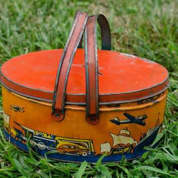 Vintage Lunch Pail Ohio Art Tin Lithograph Child's Transportation Theme