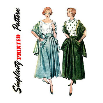 1940s Skirt and Stole Pattern Waist 24 Simplicity 2833 Day or Evening Inverted Pleat Dutch Pockets Womens Vintage Sewing Patterns