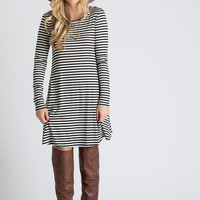 Claire Black and Cream Striped Longsleeve Swing Dress