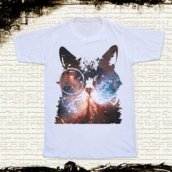 Size XL -- GALAXY CAT Glasses T Shirts Cat Shirts Galaxy Shirts Animal T Shirts Unisex T Shirts Women T Shirts White Tee Shirts Cat T Shirts