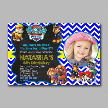 ADF 240 Paw Patrol Red Zone - BLUE Kids Birthday Invitation Party Design