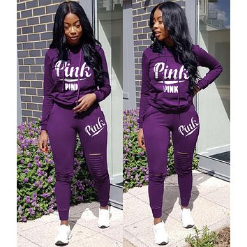 Victoria's Secret Popular Women Hoodie Long Sleeve High Waist Top Pants Two-Piece Purple