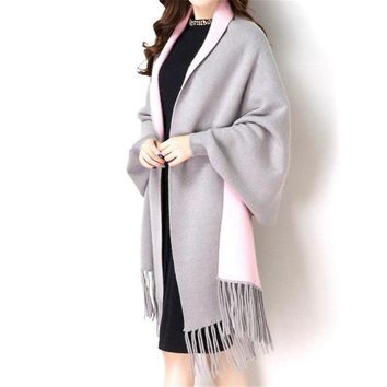 2018 Autumn Winter Causal Fashion New Loose Tassel Knitted Cashmere Batwing Women Long Thick Poncho Capes Duplex Shawl Cardigan