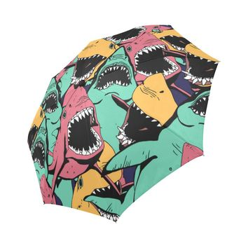 Angry Shark Seamless Pattern Sea Life Auto-Foldable Umbrella