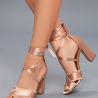 Maria Pink Satin Lace-Up Heels