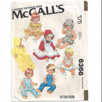 McCall's 6366 Pattern for 15.5 & 17 Inch Doll Clothes, From 1978, Dress, Pinafore, Bonnet, Overalls, Bunting, Vintage Pattern, Home Sewing