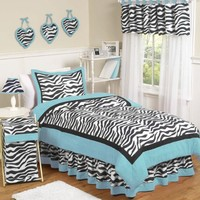 Turquoise Funky Zebra Childrens and Teen 3 Piece Full / Queen Girls Bedding Set