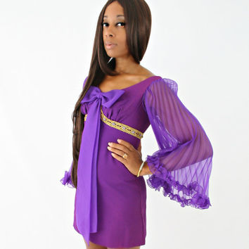 vintage 60s purple space age BABYDOLL accordion sleeve TWIGGY gogo MICRO mini dress size xs