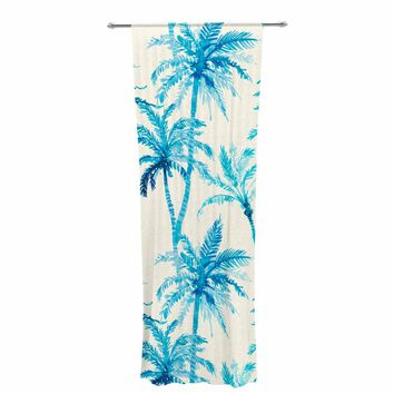 """Mmartabc """"Tropical Watercolor Palm Trees"""" Beige Blue Illustration Decorative Sheer Curtain"""