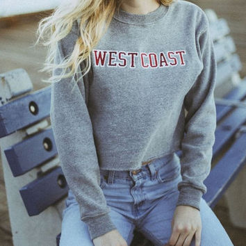 Unique Womens Casual West Coast Letter Sweater Midriff-baring Top Gift-40