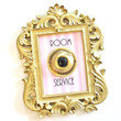 Room Service   Small Rectangle Gold Home Decor Frame with Vintage Brass Push Button (4x3 inches) (includes wall hanger)
