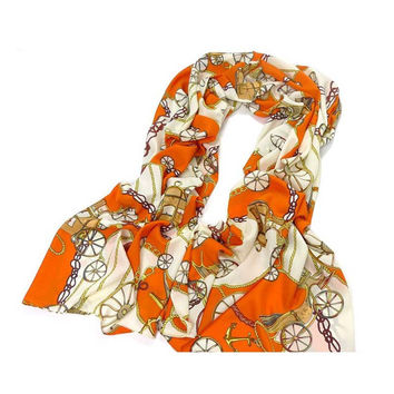 Silk Blend Oblong Chiffon Scarf Sheer Chiffon Scarf Vintage Style Accessory for Women