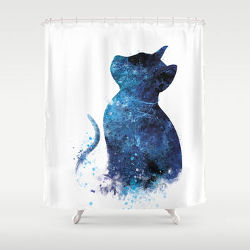 Blue Cat Shower Curtain by monnprint