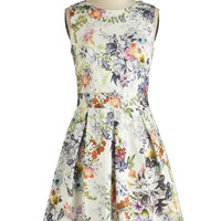 Closet Mid-length Sleeveless A-line Make the Rounds Dress in Country Bouquet