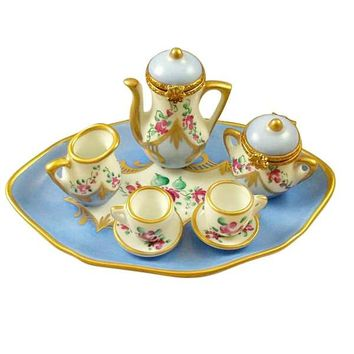 Light Blue Tea Set Porcelain Limoges Box