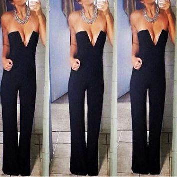 Women's V-Neck Plunge Jumpsuit in 4 Colors