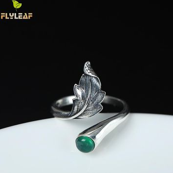 Flyleaf Brand 100% 925 Sterling Silver Green Natural Stone Feather Leaves Open Rings For Women Vintage Chinese Style Jewelry