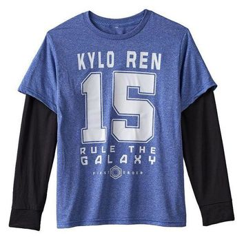 ESB7GX Star Wars: Episode VII The Force Awakens Team Kylo Mock-Layer Tee - Boys 8-20 Size