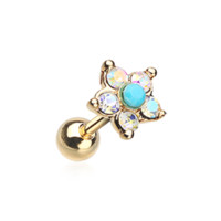 Golden Starburst Turquoise Sparkle Flower Cartilage Tragus Helix 18ga Surgical Steel