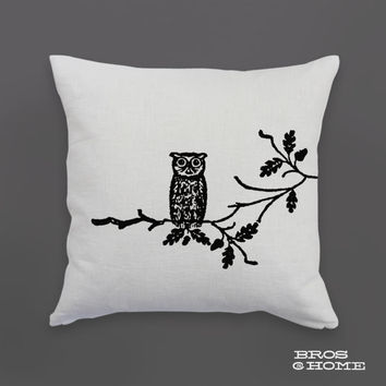 Owl Throw Pillow | Screen Printed Hoot Owl on a Branch Couch Pillowcase