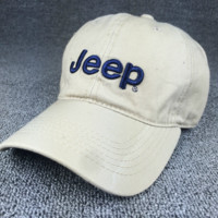 Summer Beige Color JEEP Embroidered Baseball Cap Hat