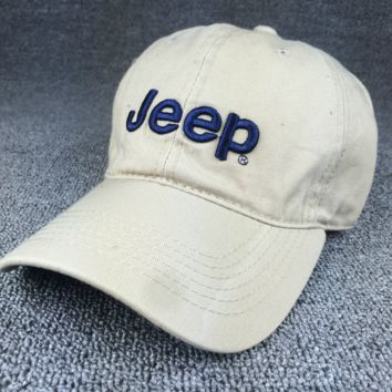 Summer Beige Color Unisex JEEP Embroidered Baseball Cap Hat