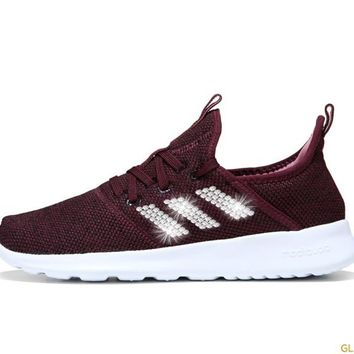 Adidas Cloudfoam Pure Sneaker + Crystals - Burgundy/Black/White
