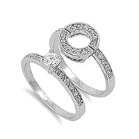925 Sterling Silver CZ Round Center Engagement Ring 10MM