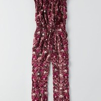 AEO Women's Patterned Jumpsuit (Burgundy)