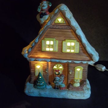 Vintage Lighted Christmas Cottage