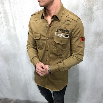 Military Ripped Cargo Shirt