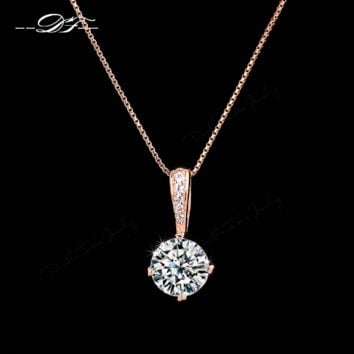 Double Fair OL Style Cubic Zirconia Chain Necklaces & Pendants Rose Gold Color Fashion Crystal Wedding Jewelry For Women DFN426