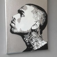 Chris Brown Silver painting,stencils,spray paints on canvas,music,fan