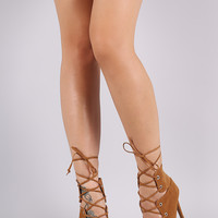 Shoe Republic LA Suede Pointy Toe Lace-Up Pump