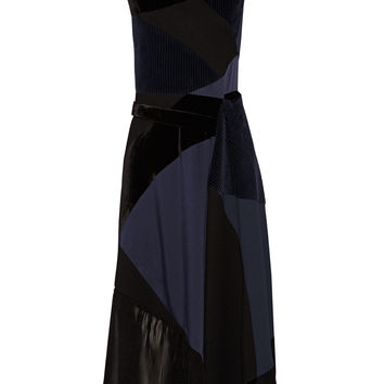 Victoria Beckham - Patchwork corduroy, duchesse silk-satin and velvet dress