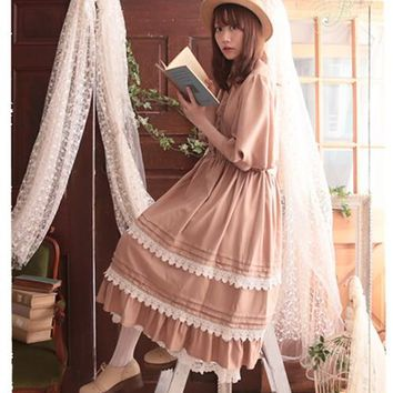 Japanese Style Mori Girl Maxi Dress Light Tan Half Sleeves Lace Trim Long Dress