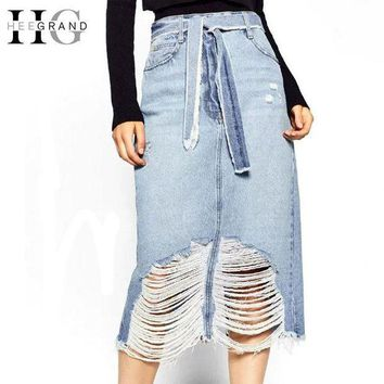PEAP78W HEE GRAND Women Denim Skirt Fashion A-Line Solid Jeans Skirts Women For Autumn High Waist Casual Skirt With Holes WQB863