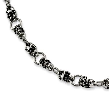 Men's Stainless Steel High Polished Skull Necklace